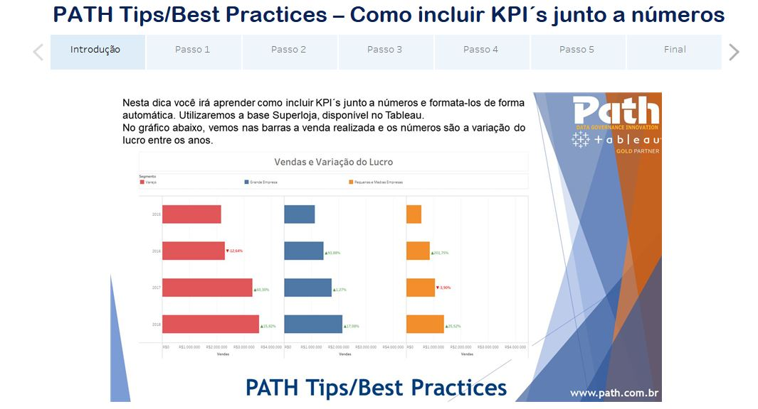 PATH Tips/Best Practices – Como incluir KPI´s junto a números