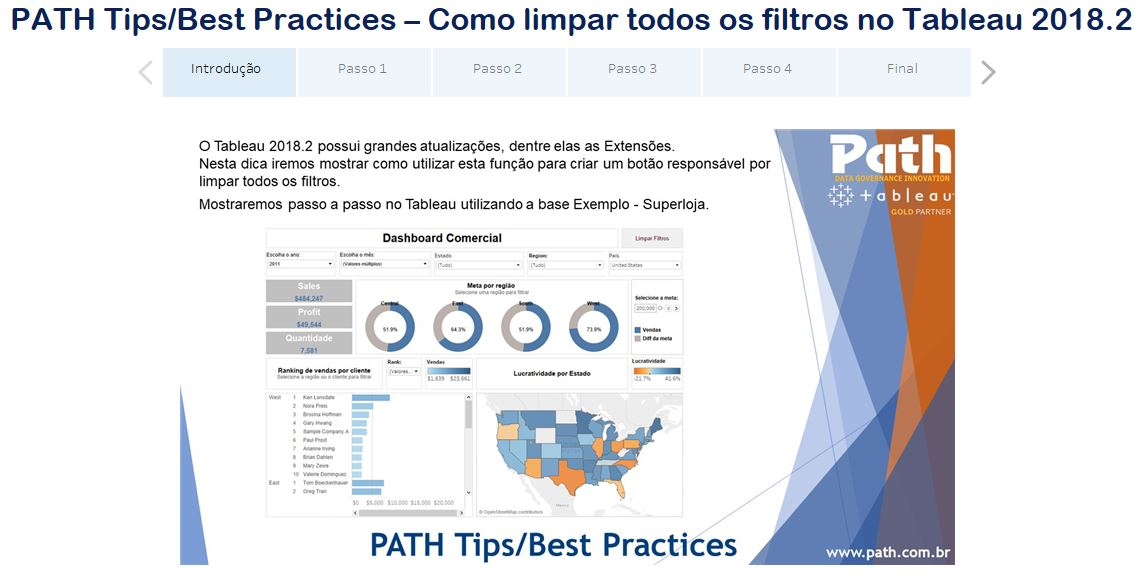 PATH Tips/Best Practices – Como limpar todos os filtros no Tableau 2018.2