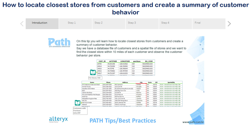 PATH | Alteryx Tips - How to locate closest stores from customers and create a summary of customer b